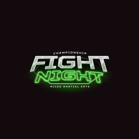 Fight night sign. Modern neon sport logo design.