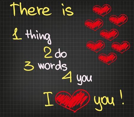 describing: The sketch heart picture and words describing the love feeling