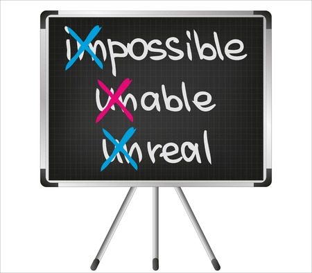 unable: Impossible, unreal, unable sketch words for business