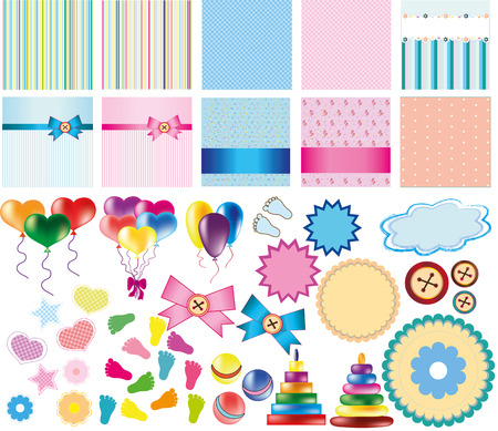customized: Set of backgrounds and items for creating customized baby shower card