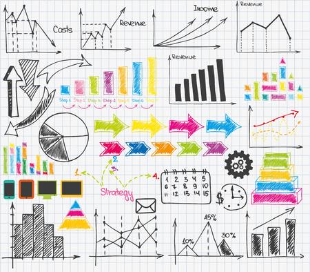 スケッチ ビジネス教材のセット  イラスト・ベクター素材