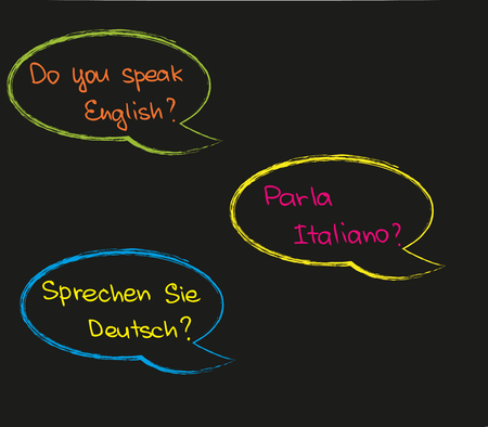 The way how to ask questions about foreign language Stok Fotoğraf