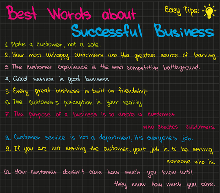 Best words how to run successful business Illustration