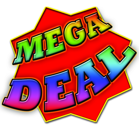 mega: Mega Deal Sign Stock Photo