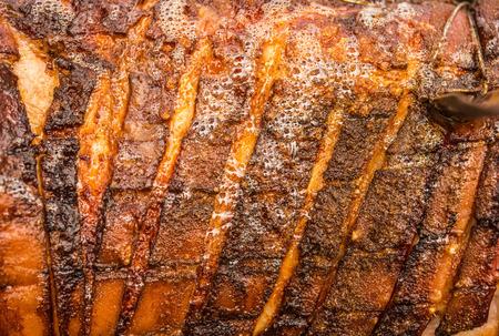Photo closeup fried pork skin,macro photo
