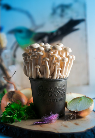 asian flavors: Three mushrooms enoki in a bucket on a  blurred background