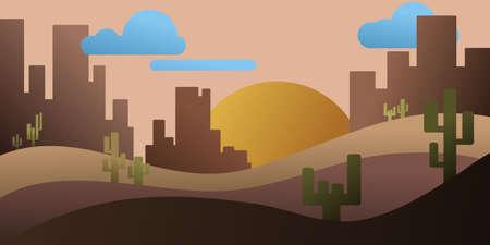 rocks and cactus in desert Иллюстрация
