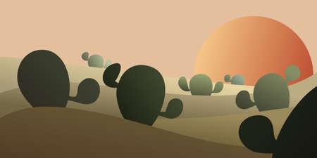 landscape with cactus in desert