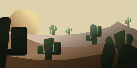landscape with cactus in yellos sunset