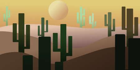 desert with cactus in yellow sun Иллюстрация