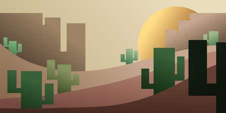 desert vector landscape with cactus