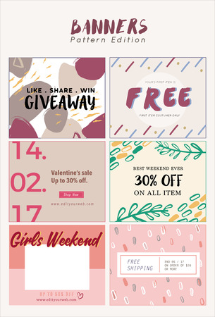 fanpage: 6 Patterns Edition Promotion Banners Template on social media FanPage.