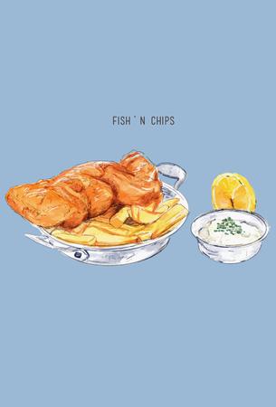 Fish and chips sketch .British cuisine. Street food series. Great for market, restaurant, cafe, food label design. Illustration