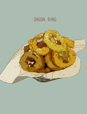 snack bar: Onion rings on paper wrap in basket, Hand drawn Highly detail illutration vector.
