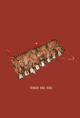 spare ribs: BBQ Ribs. Barbecued Spare Ribs .Color grilled ribs sketch