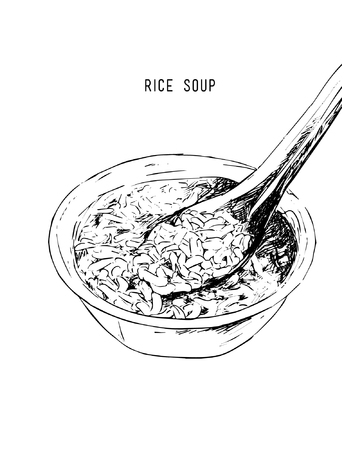 Hand drawn rice soup vector.