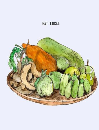 Lokalne owoce w koszyku, ręcznie rysowane szkic linii sztuki ilustracji stylu wektorowym, azjatyckich owoców Treditional.
