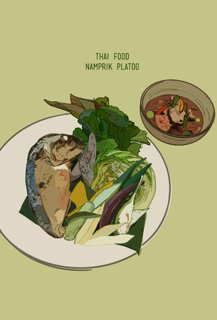boiled: Thai food set of Chili paste : Nam prik kapi, Fried mackerel fish, Boiled vegetables. illustrator