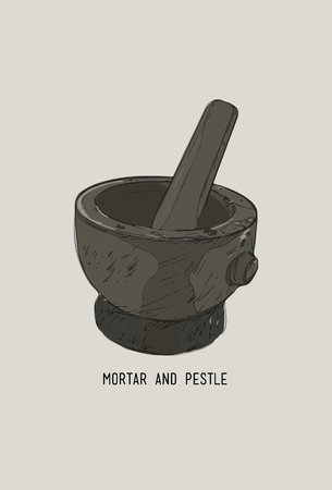 Mortar and pestle in a wreath of spices and herbs, hand-drawn vector illustration 向量圖像