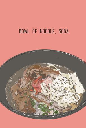 Illustration of a Bowl of Japanese Noodles , Soba. Vektorové ilustrace