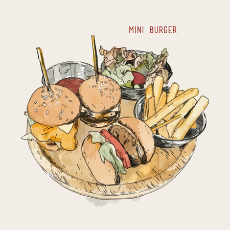 illustration of a mini burger with salad and french fries , Hand drawn sketch wayrt color vector.