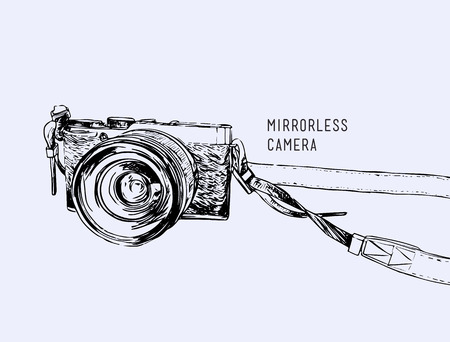 Camera vector. Vintage and classic style, mirrorless type, Hand drawn sketch design for business , minimal