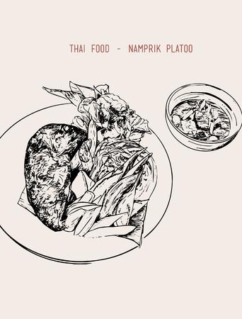 food: Thai food set of Chili paste : Nam prik kapi, Fried mackerel fish, Boiled vegetables. illustrator