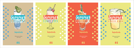 Summer coolers posters. Sketch vector. Decorative hand draw watercolor vector illustration with glasses