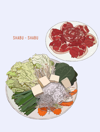 shabu set objects drawing graphic design objects. pork  vegetables set. happy meal for family dining.