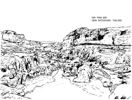 sam phan bok, hand drawn sketching water color line art illustration. Unseen Thailand stone canyon at Sam Pan Bok in Mae Kong river. Ubonratchathani Province ,Thailand