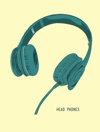 Vector illustration realistic headphones  sketch vector. Stereo headphones