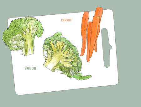 Broccoli and baby carrot . Cutting board and vegetables. Illustration