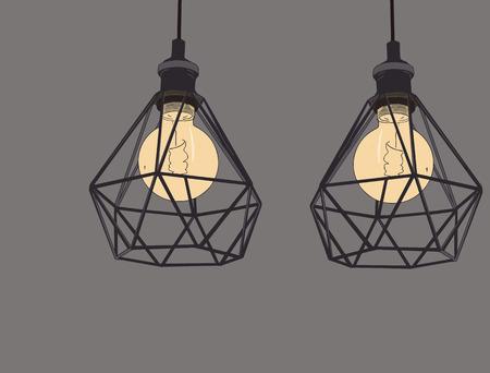 Collection of vintage symbols light bulbs and lamps.Edison light bulbs. Hand drawn sketch line art vector.