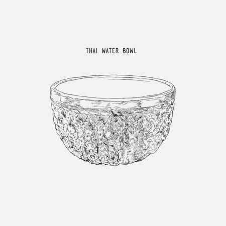 Silver water bowl for blessing in Songkran festival in Thailand.