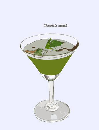 Chocolate mint cocktail Drinks. Hand drawn cocktail.