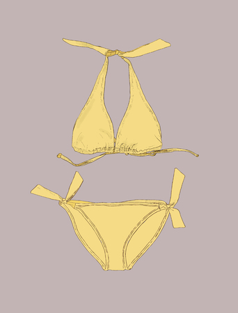 Vector set of swimwear illustration. Swimsuits outline. Hand-drawing collection of swimwear.Bikini mermaid style, shell and glitter.