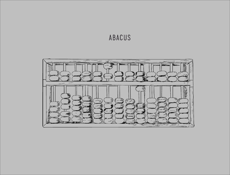 Vector illustration wooden abacus with black beads. Traditional counting frame. Abacus icon Reklamní fotografie - 76585426
