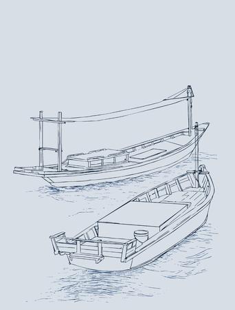 rowboat: Drawing of fishing trawler at the sea.