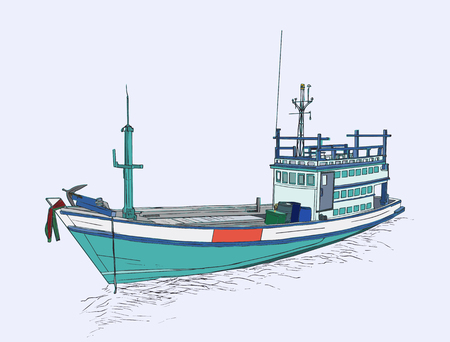 Drawing of fishing trawler at the sea , sketch vector. Illustration