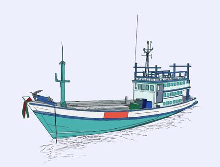 Drawing of fishing trawler at the sea , sketch vector. Illustration