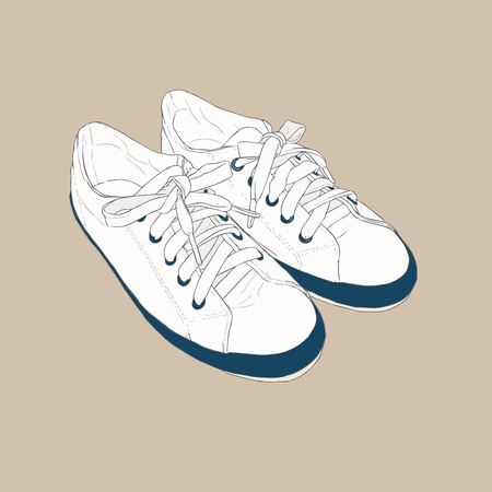 Sneakers. Vector hand drawn illustration. Sketch style. Illustration