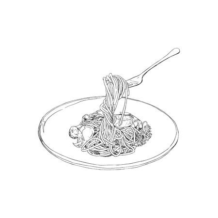 Spaghetti Hand drawn sketch vector. Imagens - 77343560