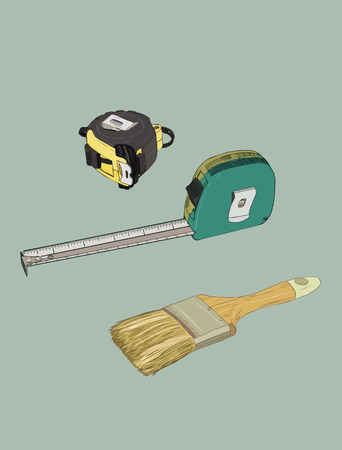 alicate: Tape measure and paint brush, tools set sketch vector.