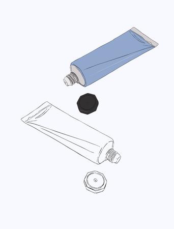Hand cream, cosmetic, makeup tube, sketch vector. Illustration