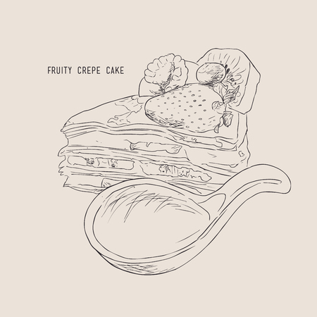 rasberry: fruitty crepe cake with fresh strawberry kiwi peach blueberry and rasberry, water color sketch vector.