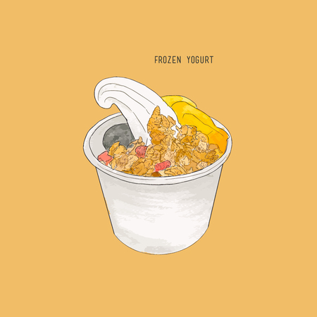 Creamy vanilla frozen yogurt topped with fresh fruit , peach , blueberry and granola served in a plastic takeaway tub.