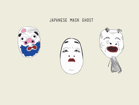 noh: Nomen; masks for japanese traditionl theater Noh koomote(young woman), hannya(ghost), okina(sprit)