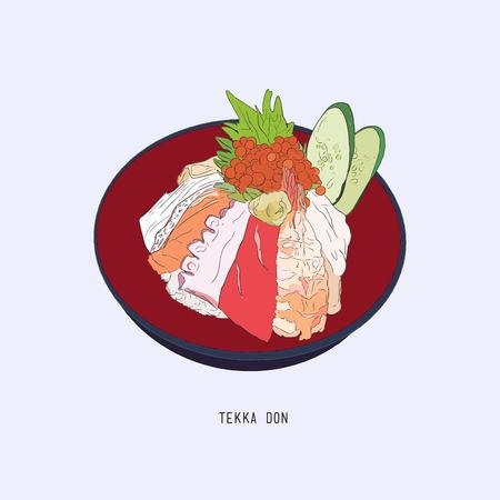 tekka: Japanese food Tekka Don . raw tuna, salmon, otoro, shrimp , squid and ikura on  rice. Illustration