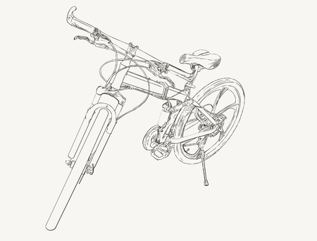 Hand gezeichneter moderner Fahrradskizzenvektor.