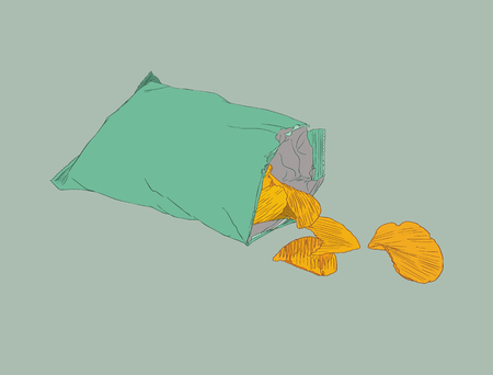 Potato chips, packaging, bag of chip, sketch vector.